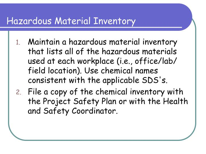 Hazardous Material Inventory