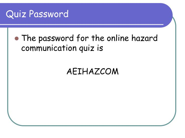Quiz Password
