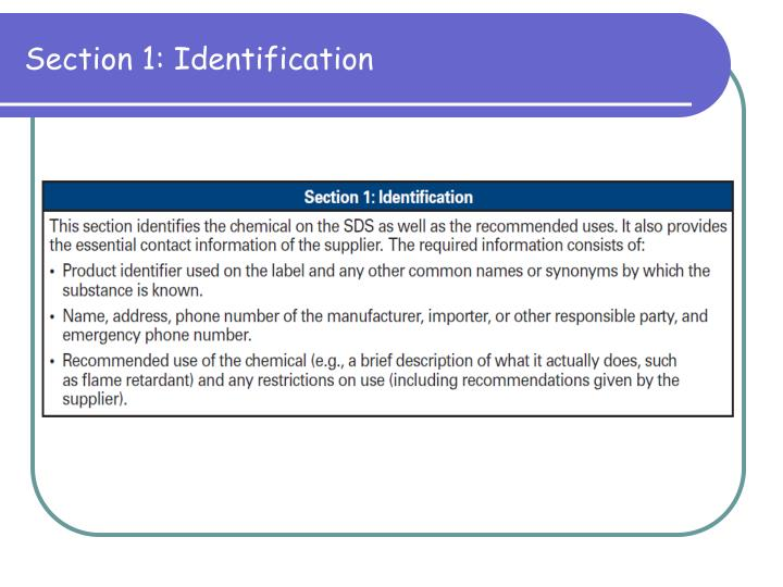 Section 1: Identification