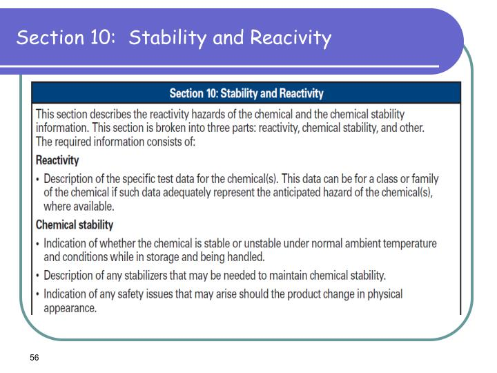 Section 10:  Stability and Reacivity