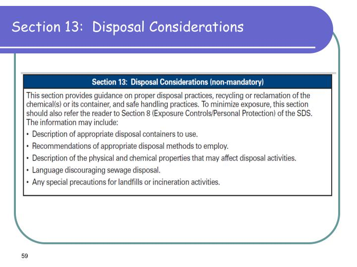 Section 13:  Disposal Considerations