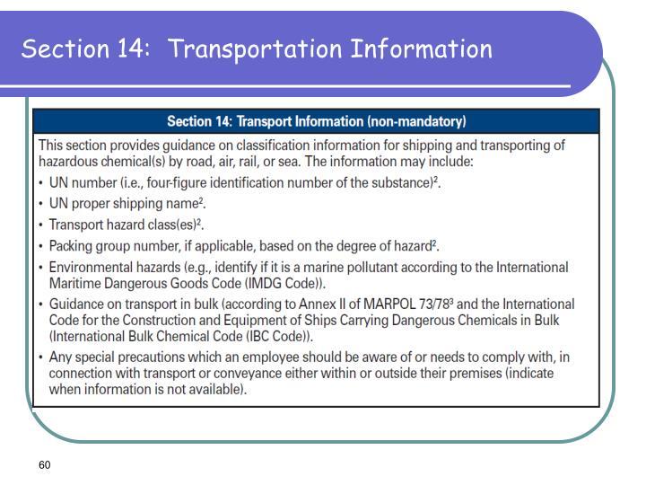 Section 14:  Transportation Information