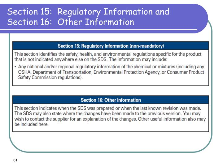 Section 15:  Regulatory Information and