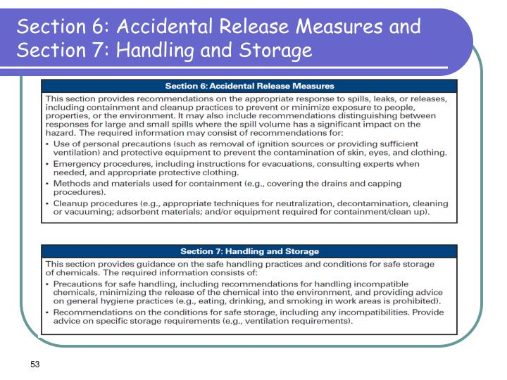 Section 6: Accidental Release Measures and Section 7: Handling and Storage