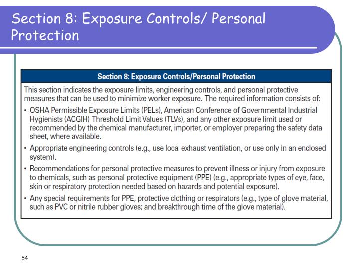 Section 8: Exposure Controls/ Personal Protection