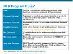 nfr program rules
