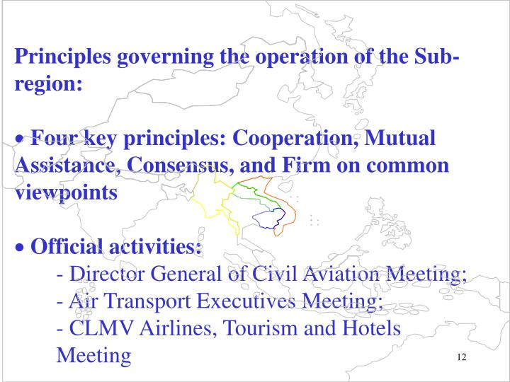 Principles governing the operation of the Sub-region: