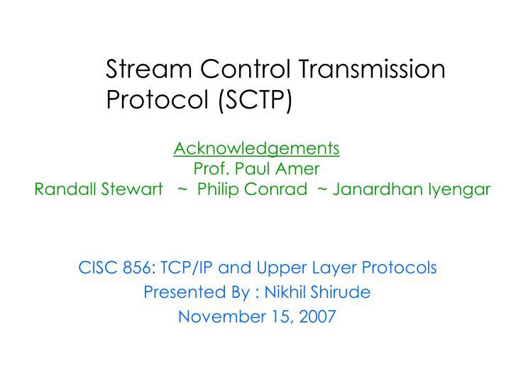 stream control transmission protocol sctp n.