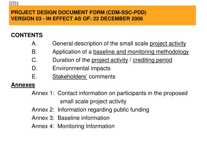 Project design document form cdm ssc pdd version 03 in effect as of 22 december 2006