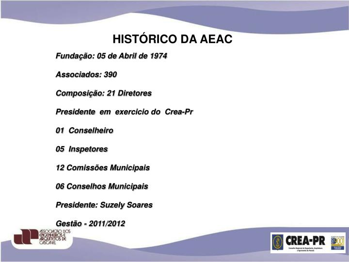 HISTÓRICO DA AEAC