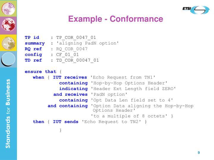 Example - Conformance