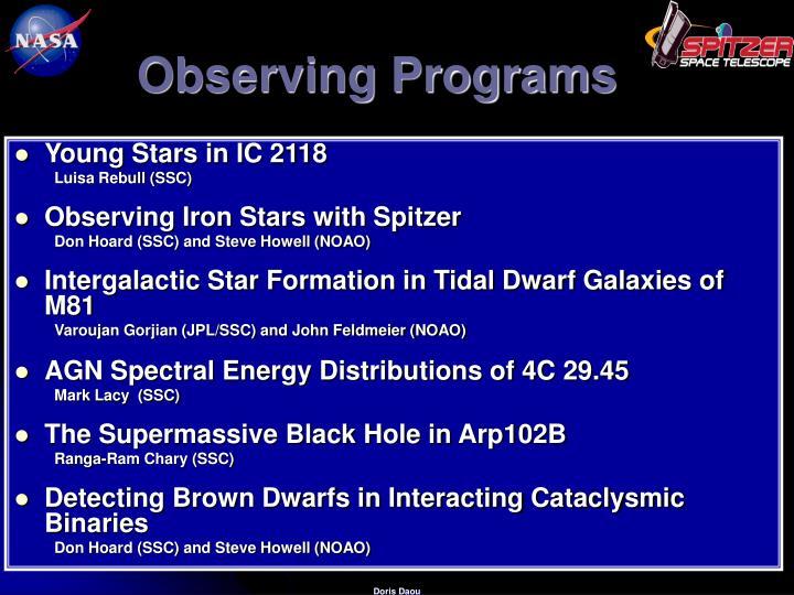 Observing Programs