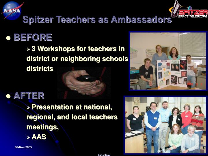 Spitzer Teachers as Ambassadors