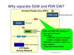 why separate sgw and pdn gw