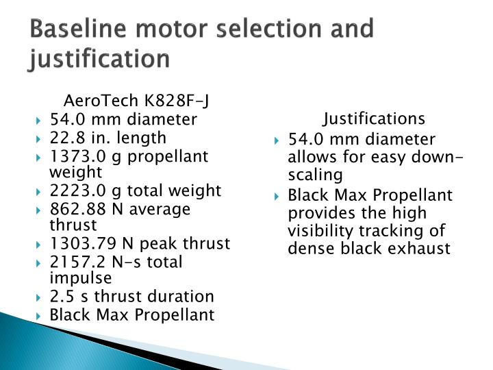 Baseline motor selection and justification