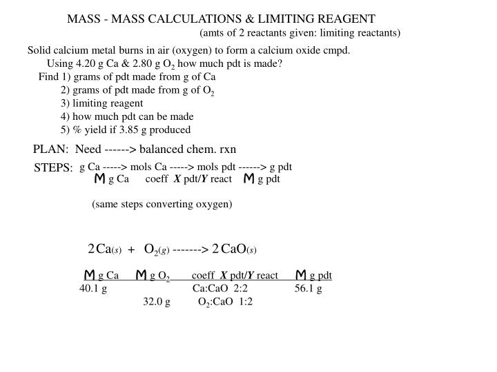 MASS - MASS CALCULATIONS & LIMITING REAGENT