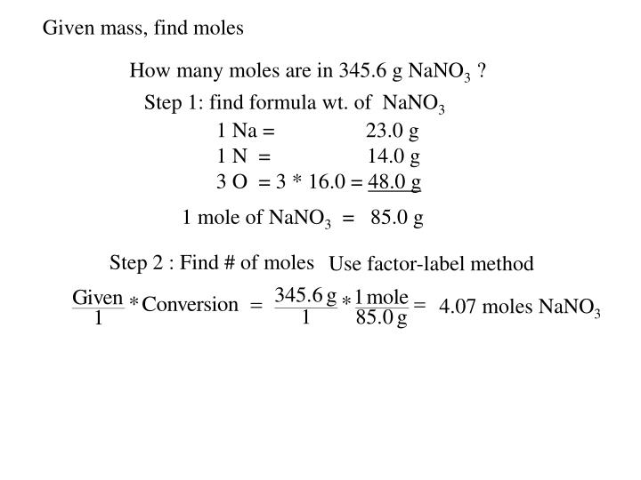 Given mass, find moles
