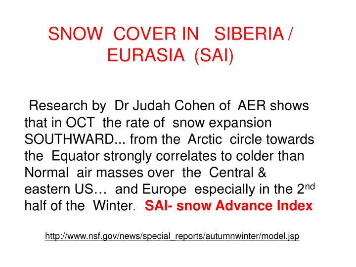 SNOW  COVER IN   SIBERIA / EURASIA  (SAI)