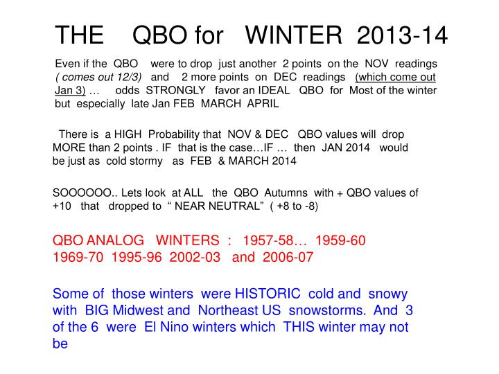 THE    QBO for   WINTER  2013-14