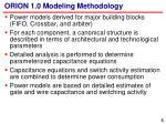 orion 1 0 modeling methodology