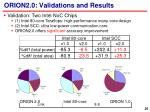 orion2 0 validations and results