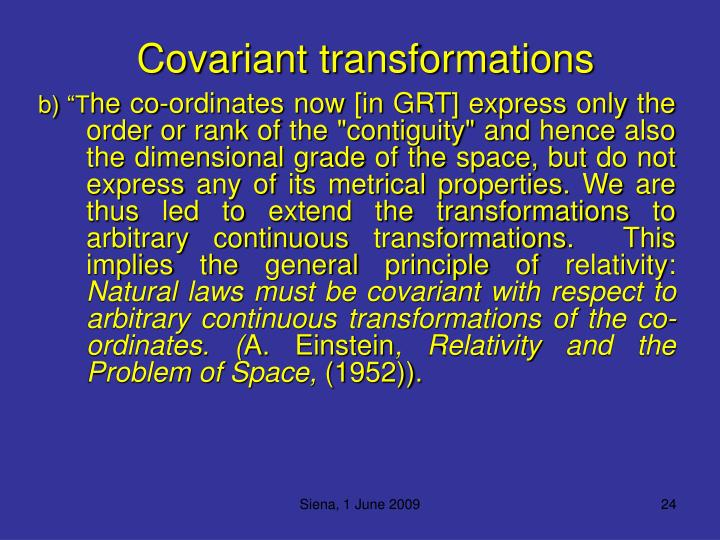 Covariant transformations