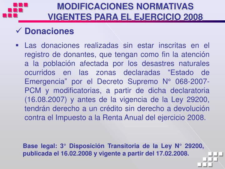 MODIFICACIONES NORMATIVAS