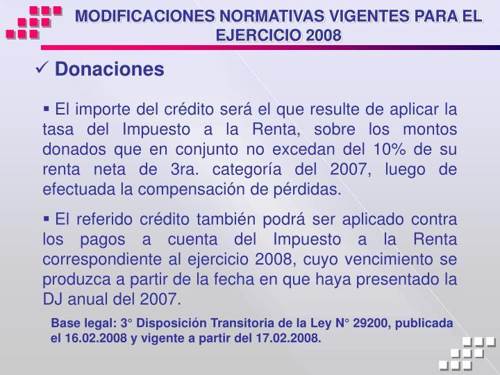 MODIFICACIONES NORMATIVAS VIGENTES PARA EL EJERCICIO 2008