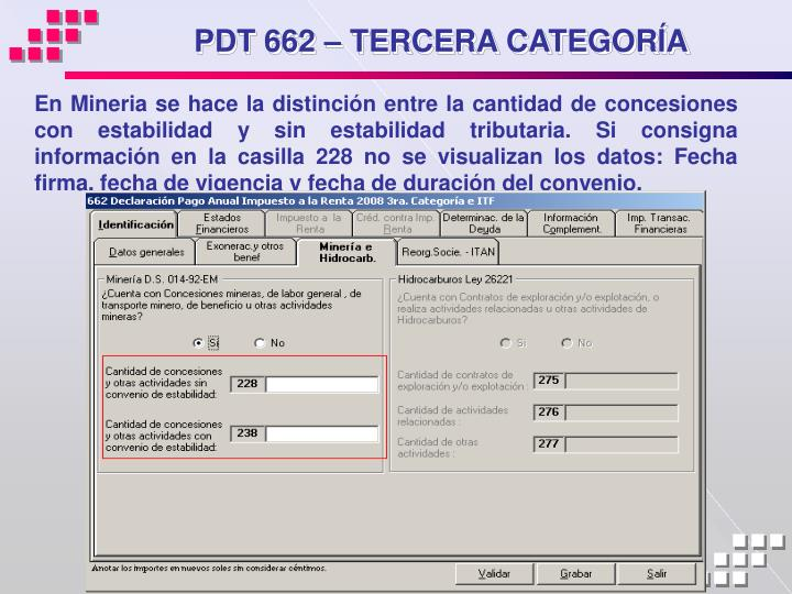 PDT 662 – TERCERA CATEGORÍA