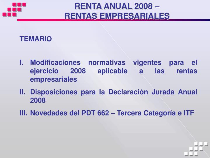 Renta anual 2008 rentas empresariales