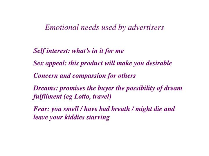 Emotional needs used by advertisers