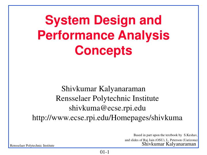 System design and performance analysis concepts