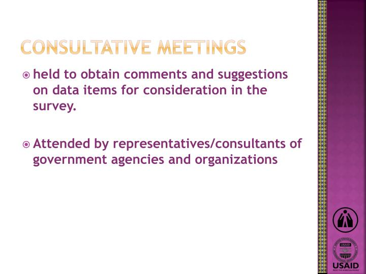 Consultative meetings
