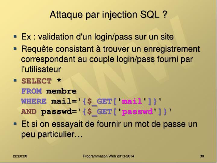 Attaque par injection SQL ?