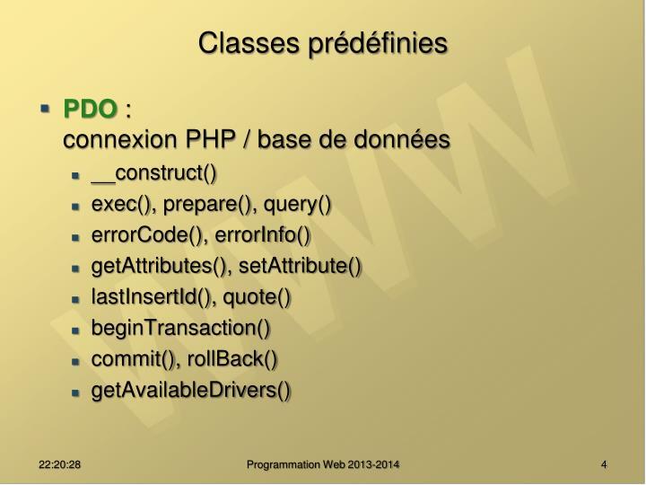 Classes prédéfinies