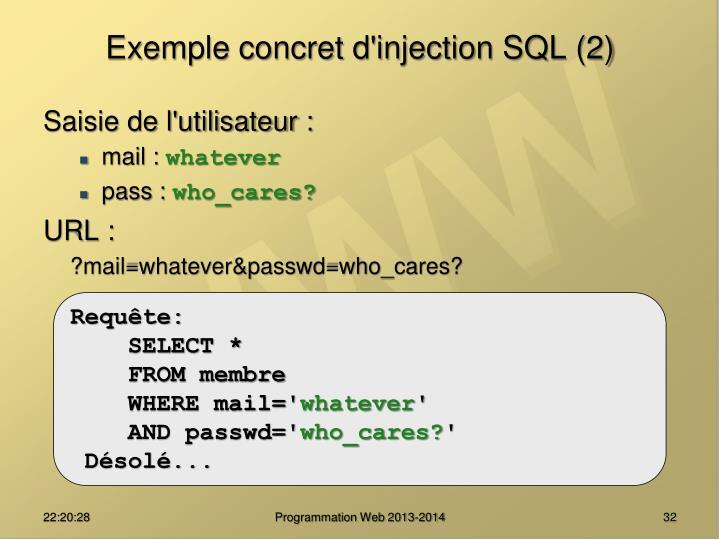 Exemple concret d'injection SQL (2)