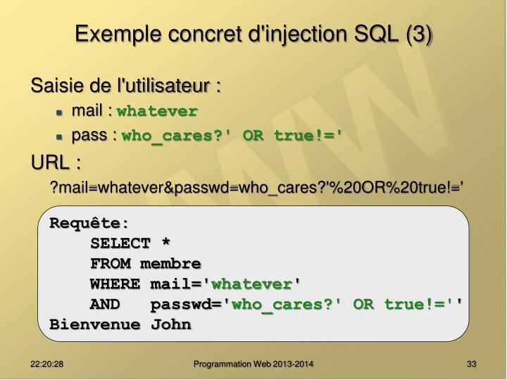 Exemple concret d'injection SQL (3)