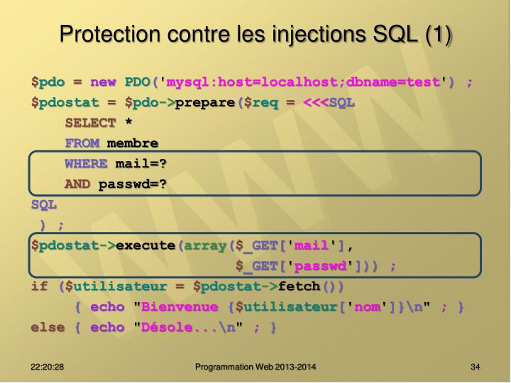 Protection contre les injections SQL (1)