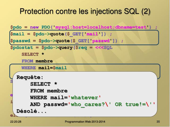 Protection contre les injections SQL (2)