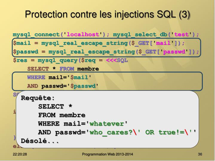 Protection contre les injections SQL (3)