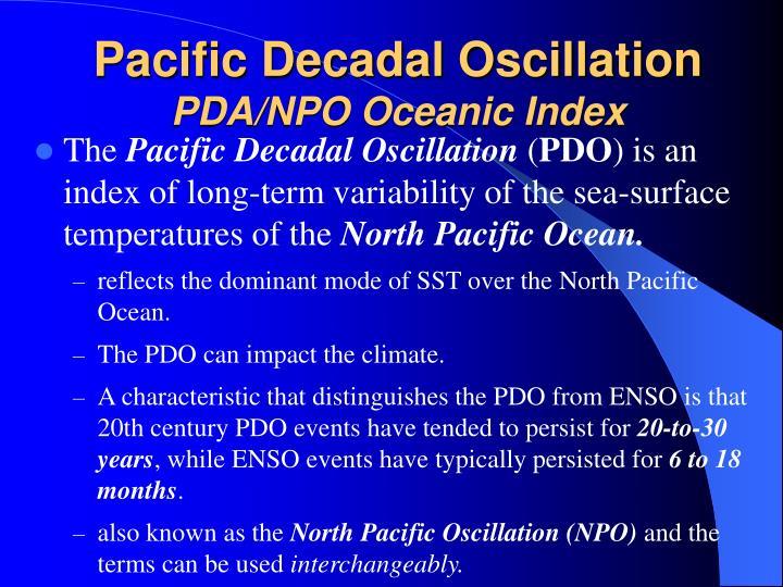 Pacific decadal oscillation pda npo oceanic index