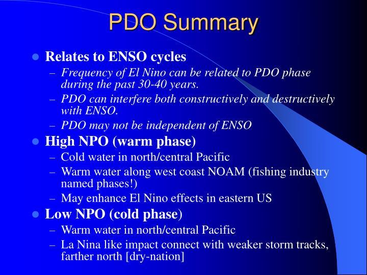 PDO Summary