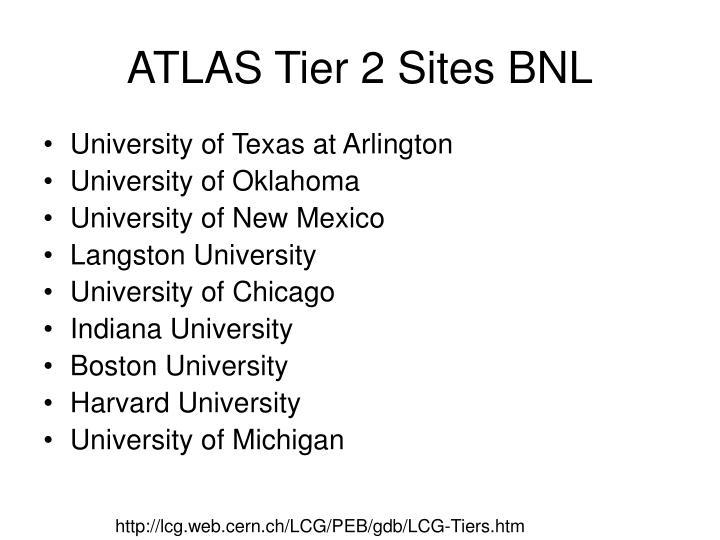 ATLAS Tier 2 Sites BNL