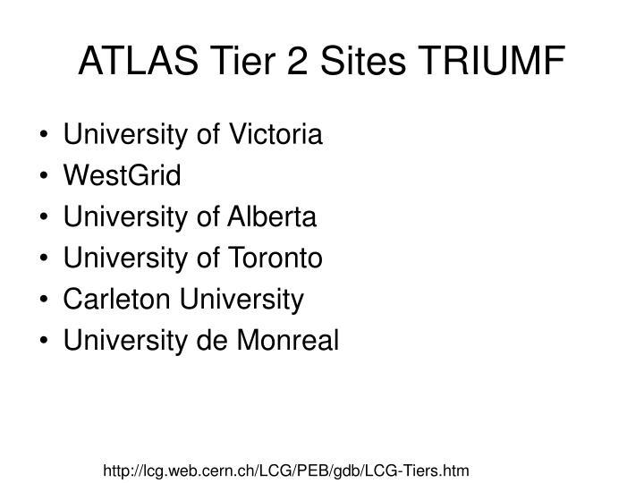 ATLAS Tier 2 Sites TRIUMF