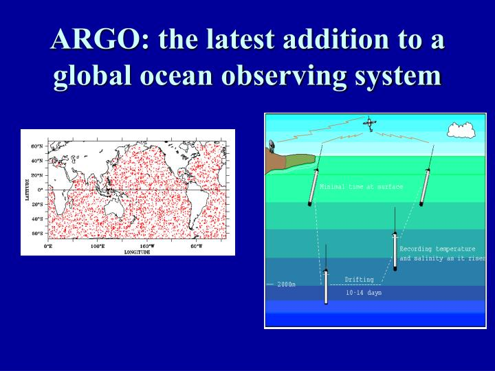 ARGO: the latest addition to a global ocean observing system