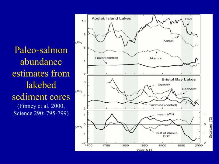 Paleo-salmon abundance estimates from lakebed sediment cores