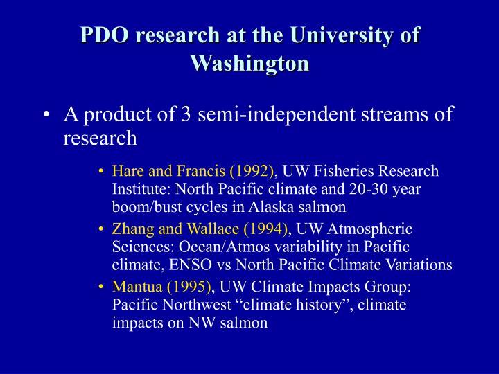PDO research at the University of Washington