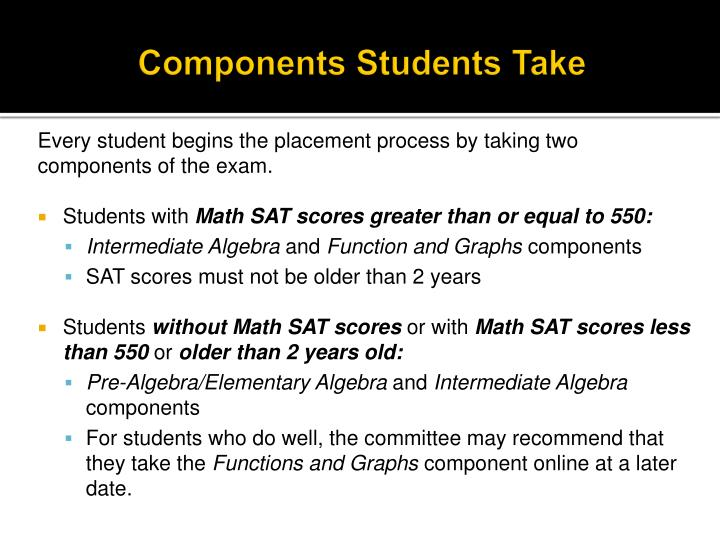 Components Students Take