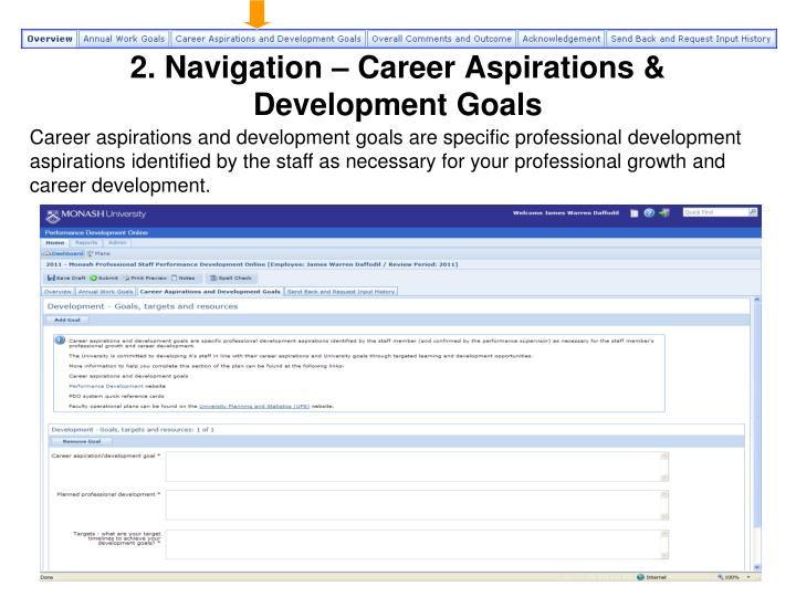2. Navigation – Career Aspirations & Development Goals