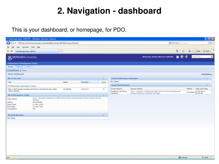 2. Navigation - dashboard